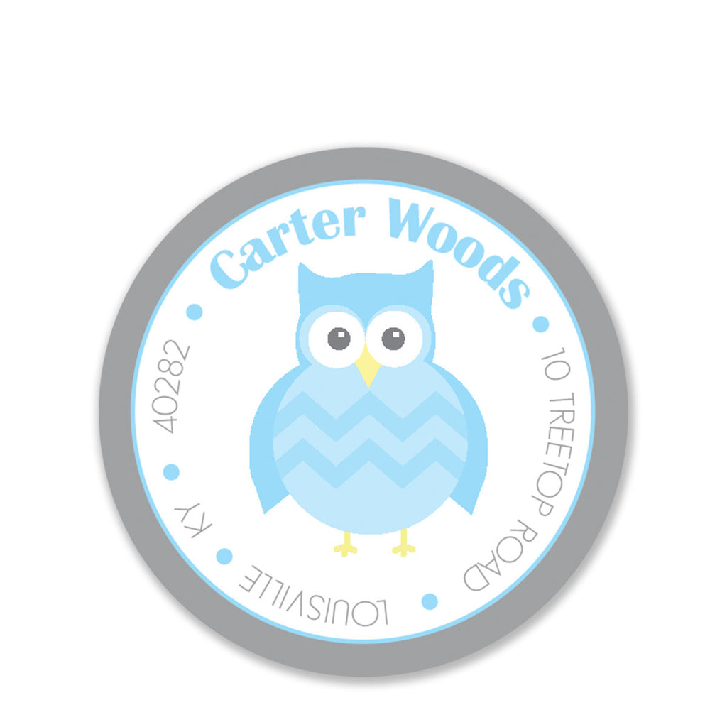 Owl Party Return Address Sticker, Blue