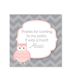 Owl Party Square Favor Stickers, Pink