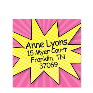 Superhero Pink  Return Address Stickers