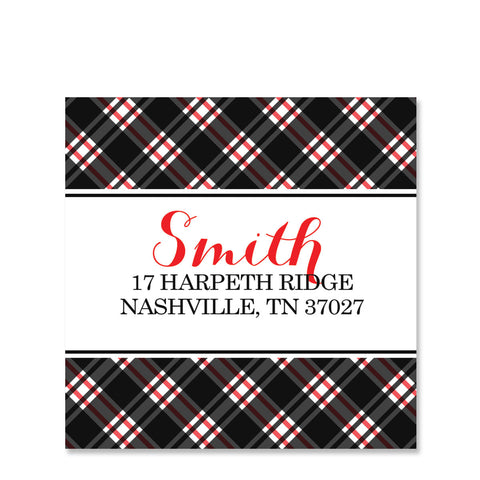 Plaid Return Address Stickers