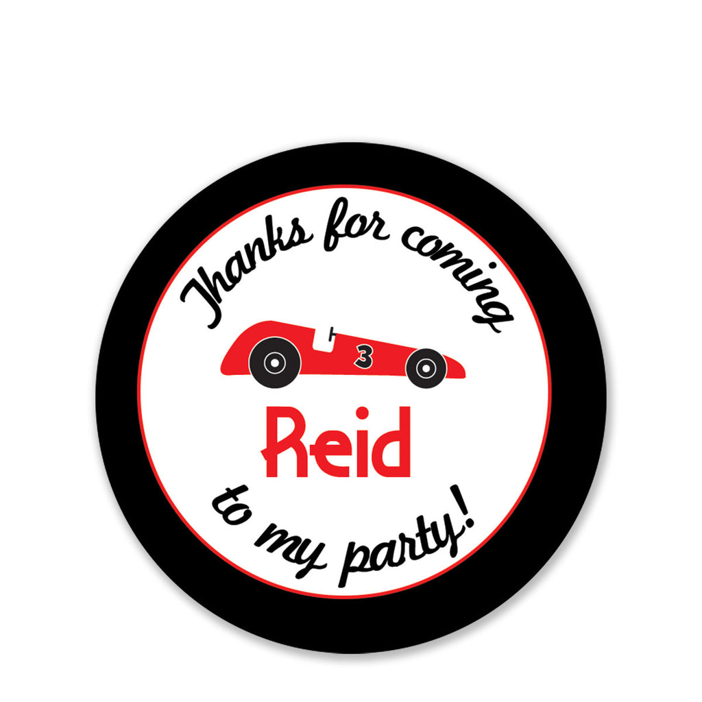 Race car party favor sticker round printed