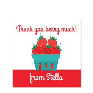 Strawberry Party Gift Tag Sticker, Square