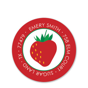 Strawberry Party Return Address Stickers (Printed)
