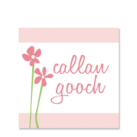 Sweet Flowers On Pink Name Stickers