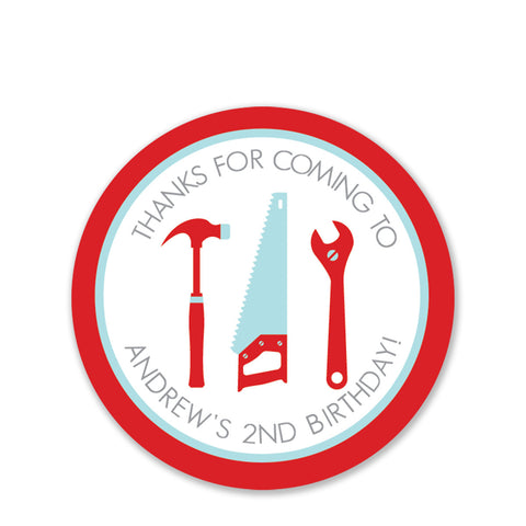 Tools Party Favor Stickers Round, Red (Printed)