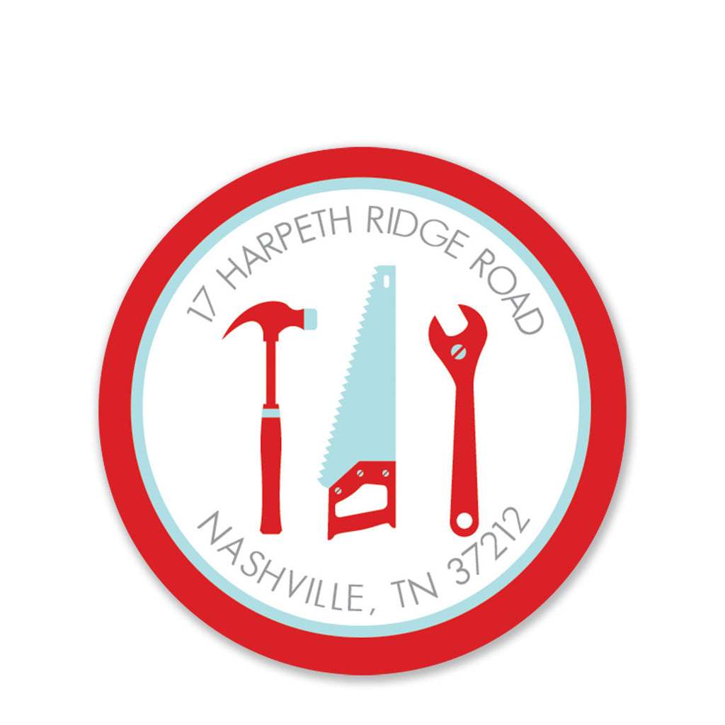 Tools Party Return Address Round Stickers, Red (Printed)