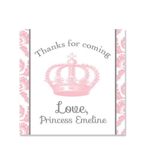 Vintage Princess Party Favor Stickers, Square
