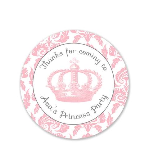 Vintage Princess Party Favor Stickers, Round