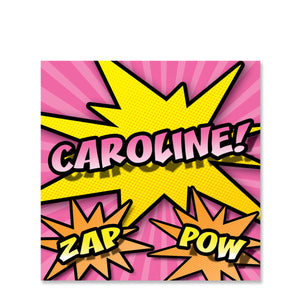 Superhero Name Stickers, Pink