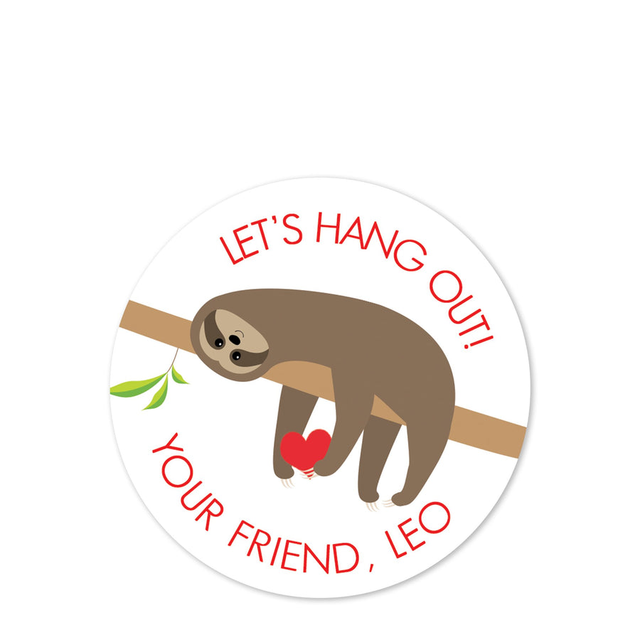 Sloth Valentine's Day Sticker, Let's Hang Out, PIPSY. COM