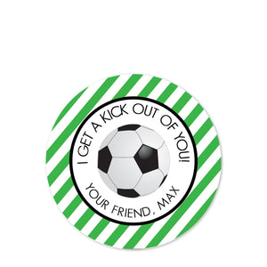 Soccer round matte sticker | Label | Class party treat bag | Personalized