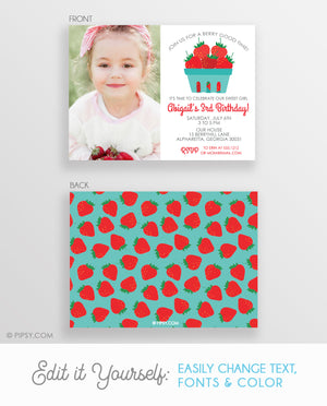 Strawberry Invitation with Photo (DIY Printable)