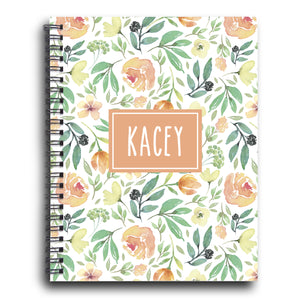 Summer Floral Personalized Spiral Notebook