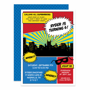 Superhero Comic Book Style Birthday Invitation, Printed on heavy cardstock, PIPSY.COM