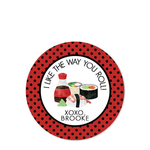 Round sushi stickers for candy bags | Class party favors