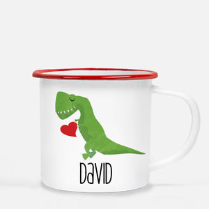 Dinosaur T- Rex holding a heart | Valentine's Day camp mug | Great personalized gift for Valentine's Day | 12 oz metal camp mug with red lip | Pipsy.com