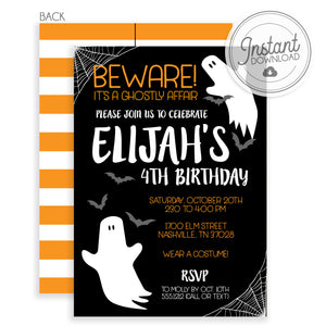 Ghost Halloween Invitation | Templett | Instant Download | PIPSY.COM