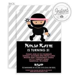 Ninja Girl Birthday Party Invitations | PIPSY.COM