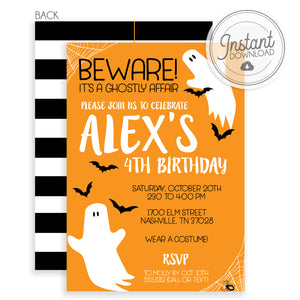 Birthday Friendly Ghost Halloween Orange Invitation (DIY)
