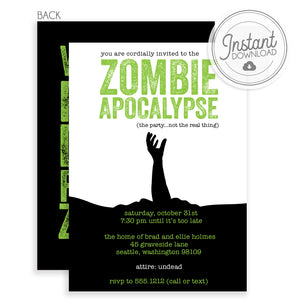 Zombie Apocalypse Halloween Party Invitation Black and Green (DIY)