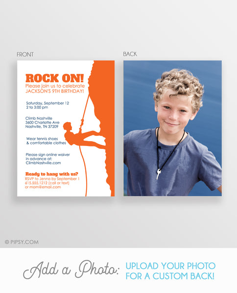 Rock Climbing Boy Invitations (DIY Printable)