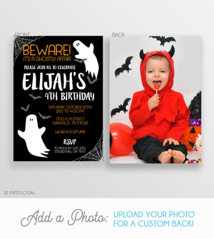 Birthday Friendly Ghost Halloween Invitation Black and White (DIY)
