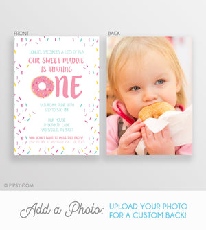 Donut First Birthday Invitations Pink (DIY Printable)