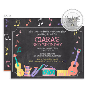 Musical Instruments Birthday Invitation Girl Pink (DIY Templett)