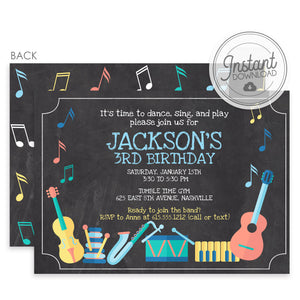 Musical Instruments Birthday Invitation Boy Blue (DIY Templett)