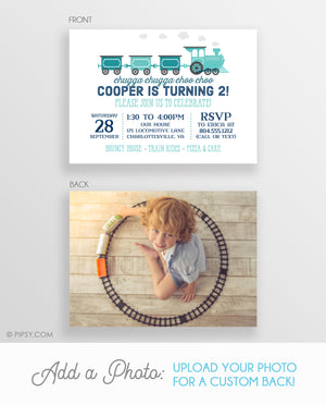 Train Invitation Blue (DIY Printable)