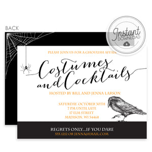 Costumes and Cocktails Halloween Invitation (DIY)