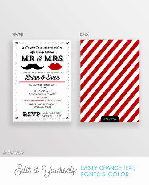 Mr and Mrs Couples Shower Invitation (DIY Printable)