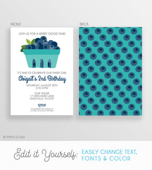 Blueberry Birthday Invitation  (DIY Printable)