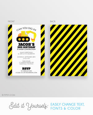 Backhoe Birthday Invitations (DIY Printable)