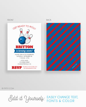 Bowling Birthday Party Invitations, Boy (DIY Printable)