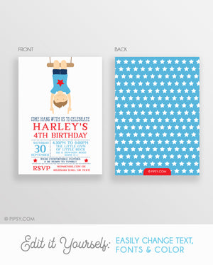 Gymnastics Boy Invitations Blue (DIY Printable)