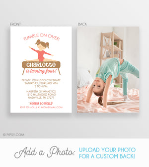 Gymnastics Girl Invitations Coral (DIY Printable)