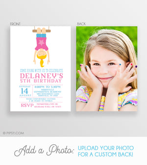 Gymnastics Girl Invitations Pink (DIY Printable)