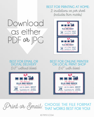 Twins Train Invitation, Pink and Blue (DIY Printable)