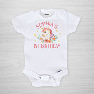 Unicorn first birthday personalized Gerber Onesie®, short sleeved