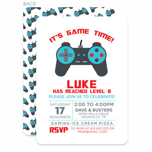 Video Game Birthday Invitation, (Printed)