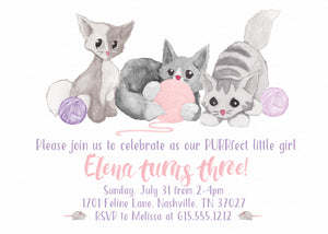 Watercolor Kitten Invitations | Swanky Press (front view)