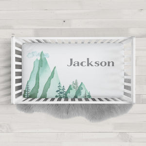 Watercolor Mountains | Personalized fitted crib sheet | Pipsy.com