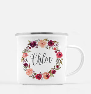 Watercolor wreath with beautiful scripted  name in the center | White enamel metal camp mug with silver lip | PIPSY.COM