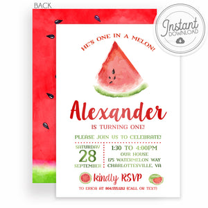 He's one in a Melon Watermelon Birthday Invitation | PIPSY.COM