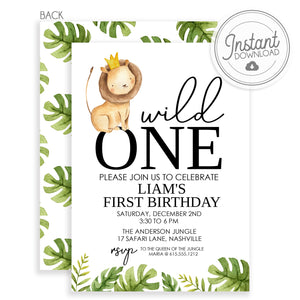 Wild ONE first birthday invitation, DIY Instant dowload using Templett, PIPSY.COM
