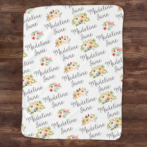Personalized Toddler or Baby Blanket, Floral, PIPSY.COM