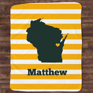 Wisconsin State Name Blanket | Stripes | Pipsy.com
