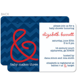 Blue Ampersand Baby Shower Invitation