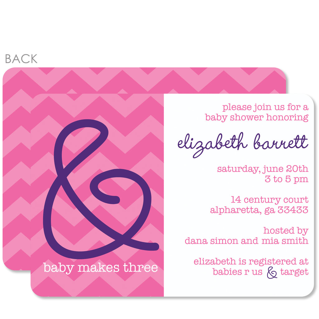 Ampersand Baby Shower Invitation, Pink (Printed)
